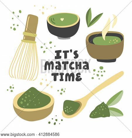 It Is Matcha Time. Vector Hand Drawn Matcha Illustration On Contrast Background. Cake, Macaroons, Sp