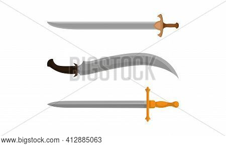 Medieval Cold Steel Arms Or Blade Weapon With Sword And Dagger Vector Set