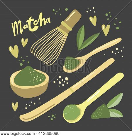 Vector Hand Drawn Matcha Illustration On Contrast Background. Cake, Macaroons, Spoon, Bamboo Whisk,
