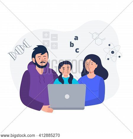 Study Together. Parents Help Their Child Do Homework. Online Education, E-learning, Studying At Home
