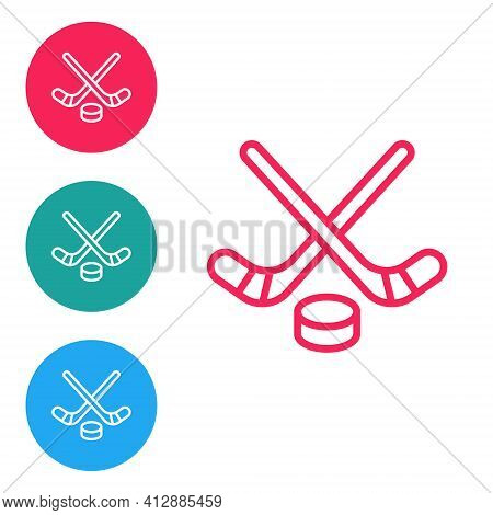 Red Line Ice Hockey Sticks And Puck Icon Isolated On White Background. Game Start. Set Icons In Circ