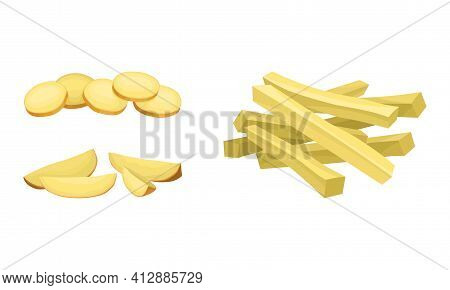Sliced Potato As Root Vegetable Or Starchy Tuber Of Plant Vector Set