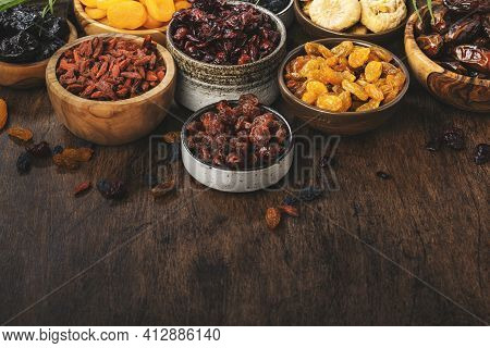 Healthy Food Snack: Dried Fruits, Natural Sun Dried Organic Mix Of Dried Apricots, Figs, Raisins, Da
