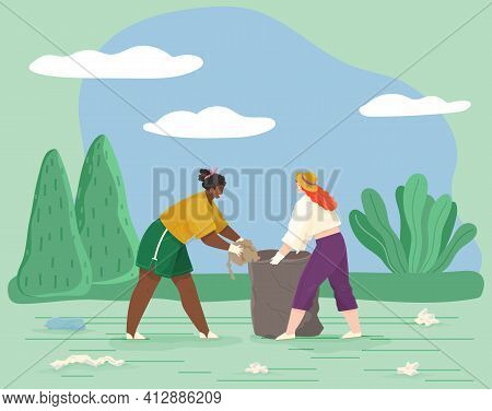Girls Remove Paper Waste From Meadow Or Glade. Female Characters Throwing Trash To Rubbish Bag