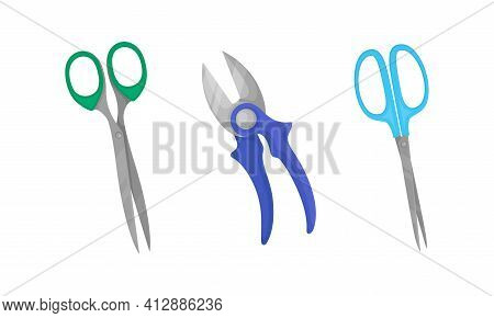 Scissors With Pair Of Metal Blades As Hand-operated Shearing Tool Vector Set