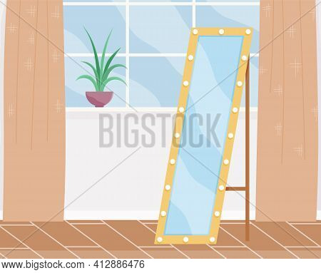 Cartoon Background Of Female Living Room With Window, Potted Plant On Windowsill, Floor Mirror