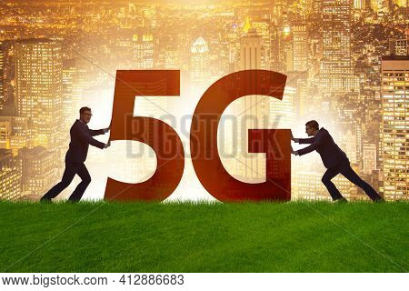 5G communication network concept with silhouettes