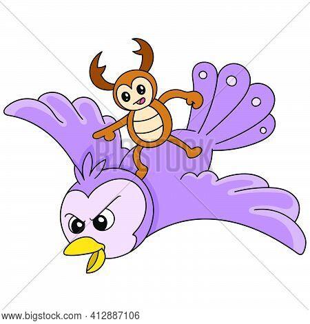 Cartoon Beetle Is Riding A Flying Owl, Doodle Kawaii. Doodle Icon Image. Cartoon Caharacter Cute Doo