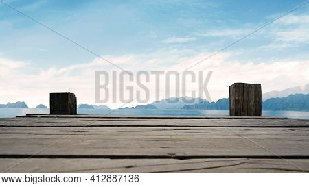 Panoramic View Of Wooden Bridge Lake With Bright Blue Skyline At The Background With Empty Wooden Fl