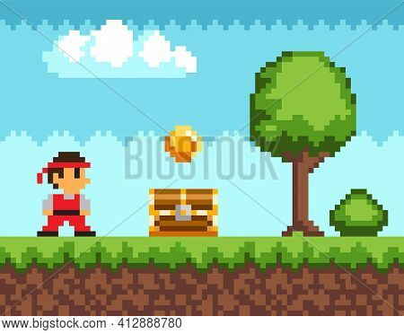 Pixel-game Ninja Male Character. Pixelated Natural Landscape With Warrior Near Golden Coin And Chest