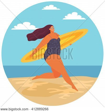 Plump Girl Running With Surfboard. Rest In Summer At Sea. Person In Swimsuit Resting At Resort