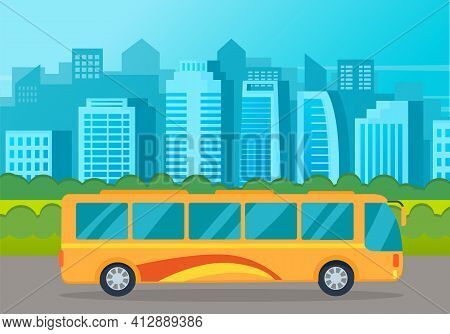 Yellow Bus Drive On An Asphalt Road Against The Background Of Tall Buildings Of The City Landscape