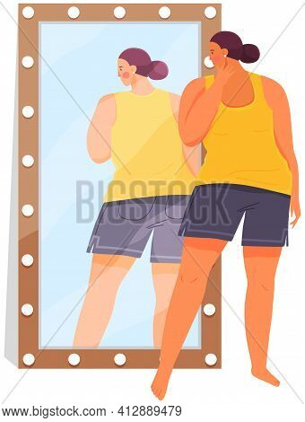 Woman In Sportswear Looking At Reflection In Mirror. Unhappy Plump Girl Standing In Front Of Mirror