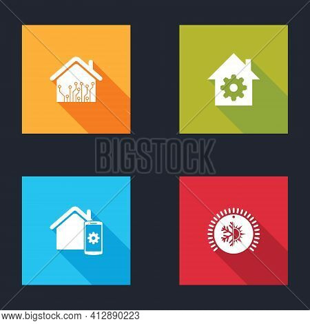 Set Smart Home, Settings, Remote Control System And Thermostat Icon. Vector