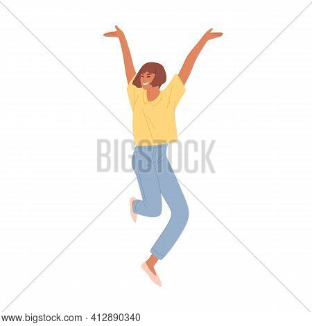 Happy Smiling Woman Jumping From Joy And Success. Young Energetic Student Celebrating Achievements A