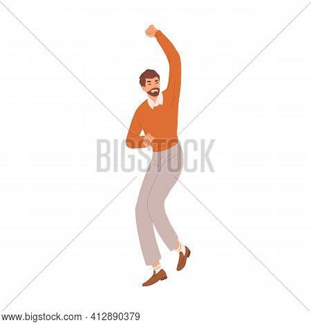 Happy Man Gesturing With Fist Up, Expressing Joy And Celebrating Success And Victory. Delighted And
