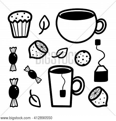 Tea Party Vector Doodle Set, Collection. Tea, Coffee Cups, Cookie, Sweets, Candy, Lemon, Tea Bag, Te