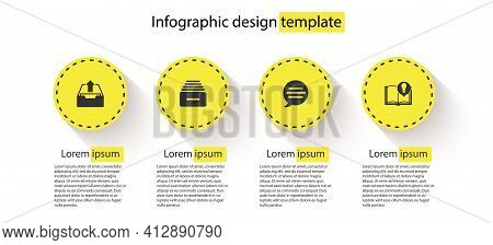 Set Upload Inbox, Drawer With Documents, Speech Bubble Chat And Interesting Facts. Business Infograp