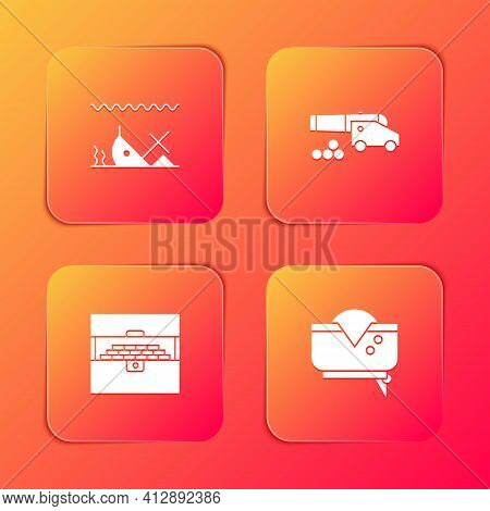 Set Sunken Ship, Cannon With Cannonballs, Antique Treasure Chest And Pirate Hat Icon. Vector