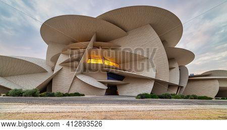 Doha, Qatar -march 16 2021: National Museum Of Qatar (desert Rose) Panoramic External View At Sunset