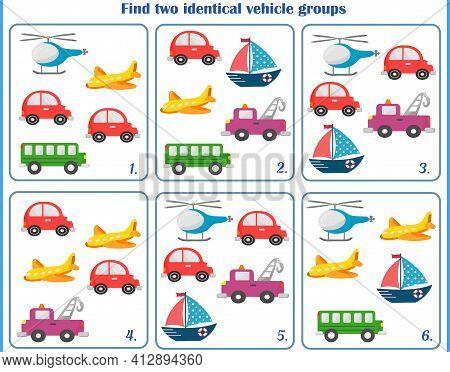 Logic Game For Children. Find The Same Groups. Vector Illustration