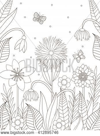 Flowers Coloring Page. Floral Coloring. Adult Coloring. Vector Illustration.