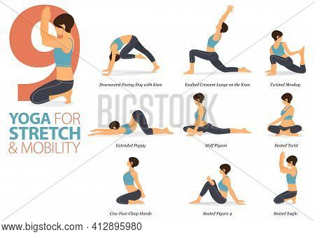 Infographic 9 Yoga Poses For Workout In Concept Of Stretch And Mobility In Flat Design. Women Exerci