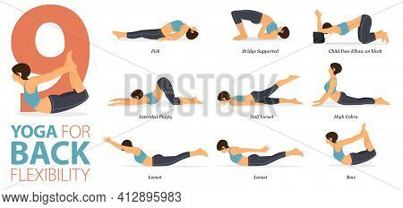Infographic 9 Yoga Poses For Workout In Concept Of Back Flexibility In Flat Design. Women Exercising