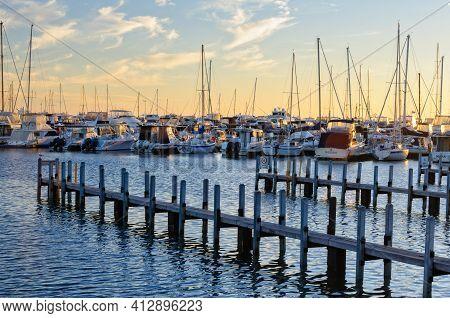 Perth, Wa, Australia - February 28, 2017: Boats Moored At Sunset In The Hillarys Marina