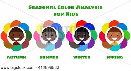 Stock Vector Seasonal Color Analysis Palettes For Different Types Of Boys Appearance. Best Colors Fo