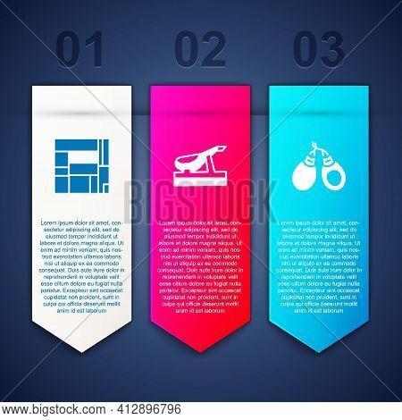 Set House Edificio Mirador, Spanish Jamon And Castanets. Business Infographic Template. Vector