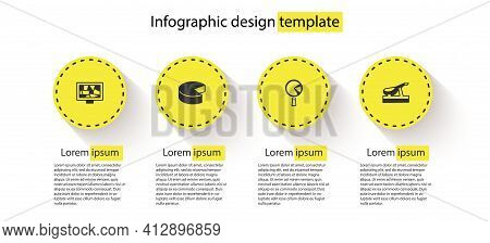 Set Picture Art, Cheese, Omelette In Frying Pan And Spanish Jamon. Business Infographic Template. Ve