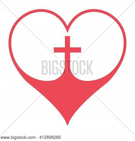 Christian Cross In The Heart Symbol Of Faith In God, Vector Red Heart With Crucifix Cross Sign Chris