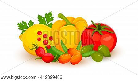 Vitamin C Food Source Vector Illustration. Foods Containing Ascorbic Acid. Fruits And Vegetables.lem