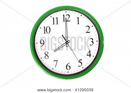 A clock from a serie showing 8 o'clock. Isolated on a white background.