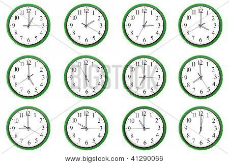 12 clocks. Each one showing one hour of the day. Isolated on a white background.