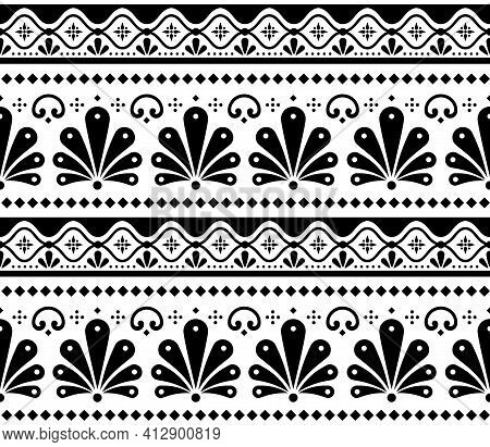 Mexican Vector Seamless Black And White Pattern Inpired By Traditional Pottery And Ceramics Art Tala