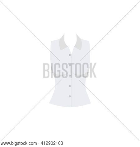 Female Office Blouse In White Color Flat Icon Vector Illustration