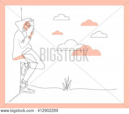 Teenager On The Smartphone Mobile Phone Outline Minimalist Vector Illustration With Modern Monoline