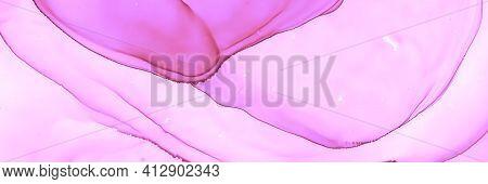 Delicate Fluid Waves. Alcohol Oil Design. Feminine Flow Illustration. Color Marble Wallpaper. Fluid