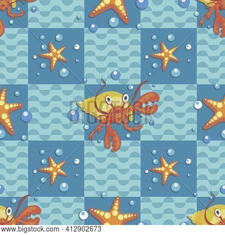 Hermit Crab, Starfish. Sea Wave. Marine Checkered Background.design For Baby Textiles, Packaging.