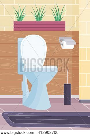 Clean Modern Wc With White Ceramic Toilet Bowl, Paper And Brush. Water Closet With Brown Wall Tiles
