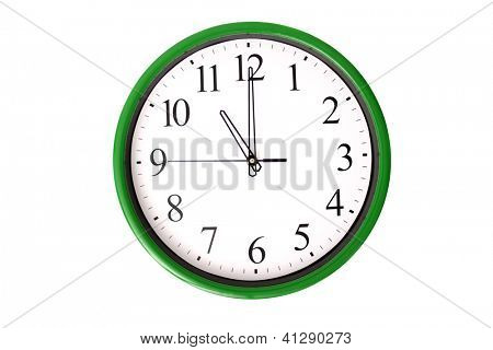 A clock of a serie showing 11 o'clock. Isolated on a white background.