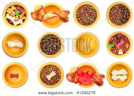 An isolated dog bowls with different dog foods on a white background.