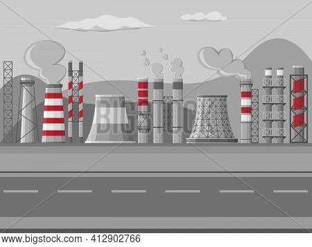 Industrial Factory Pipes, Chimneys Illustration. Set Of Chimneyed Pipe Factory With Toxic Air Citysc