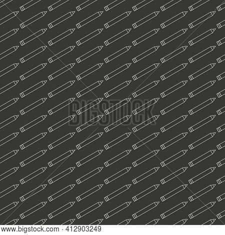 School Seamless Pattern With Pencils Linear Icons. School Education, Simple Background. Texture For