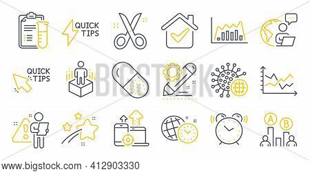 Set Of Science Icons, Such As Scissors, Project Edit, Diagram Chart Symbols. Vector