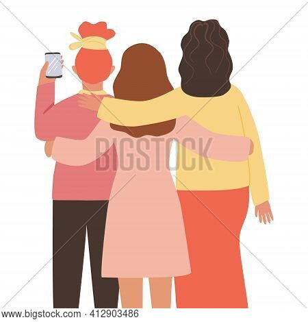 Three Women Hug, Take A Selfie On The Phone. View From The Back. Cartoon Female Character. Concept O