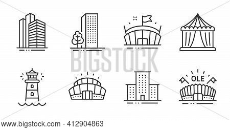 Skyscraper Buildings, Arena Stadium And Lighthouse Icons Set. Circus Tent, Buildings And Sports Aren