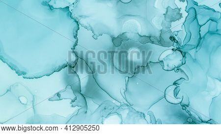 Watercolour Paint Background. Pastel Flow Design. Blue Ocean Gradient Abstraction. Teal Pastel Flow